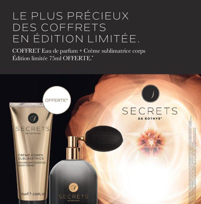 20190703 Affichette Promo Secrets COFFRET PARFUM CREME + 75 ml FRANCE 2020 640385
